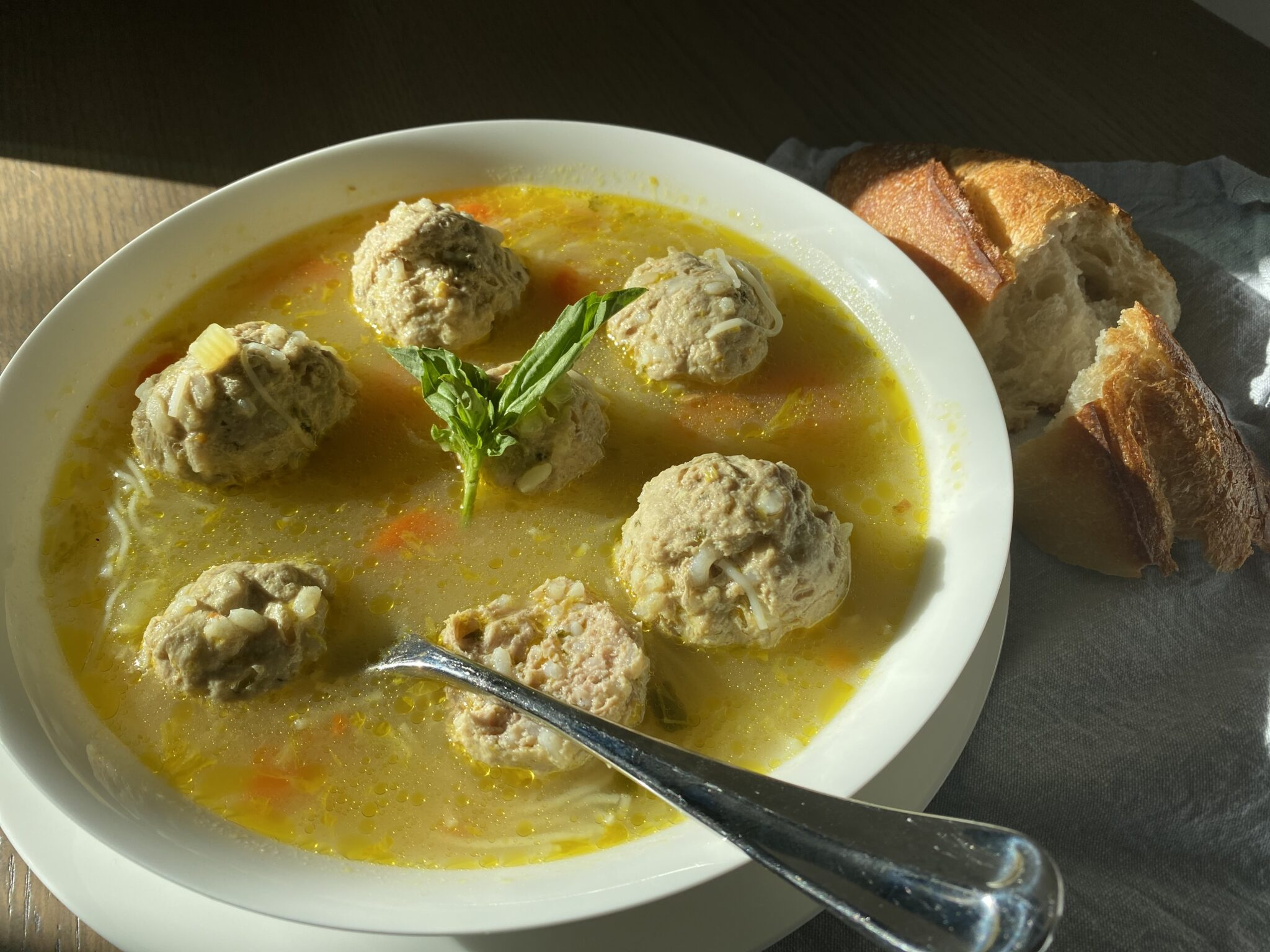 Turkey Meatball Soup with Ginger and Lime