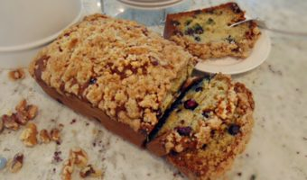 Blueberry Banana Bread with Walnut Crumbles