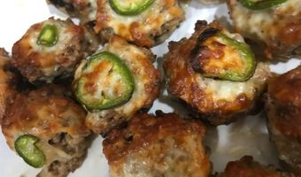 Turkey sausage and jalapeño mushroom poppers.