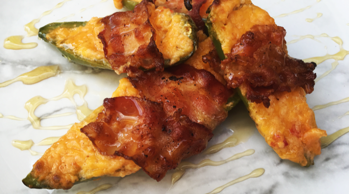 Bacon wrapped Jalapeños and pimento cheese