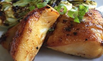Sake Glazed Halibut with Grilled Baby Bok Choy