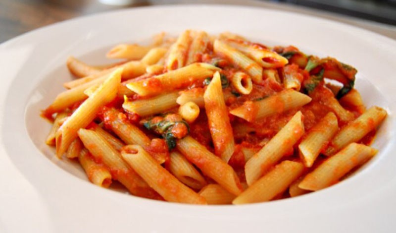 Spicy Parmesan Infused Red Sauce with Penne Pasta - Thyme with Catherine