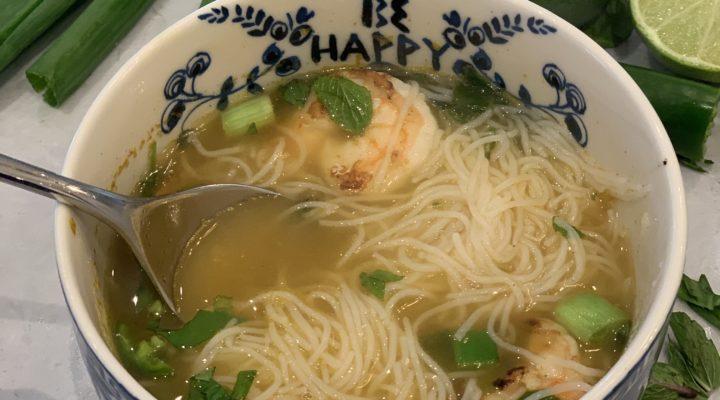 Simple Vietnamese PHO with sautéed shrimp